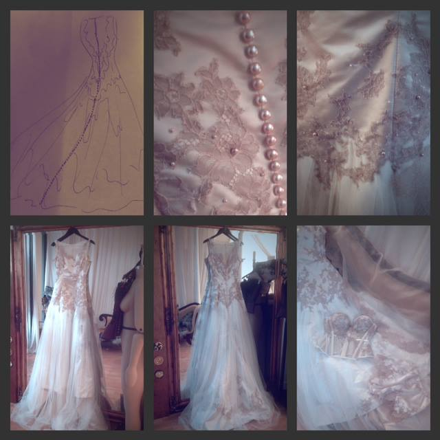 A little collage that I made at the time. Oh, how I wish I'd had a proper camera! You know, writing about this gown is dangerous... All I want to do now is make another! That lace, those pearls...