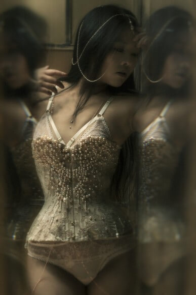 Twig in Sparklewren corset and body chains, with Karolina Laskowska lingerie. More delicious reflections and refractions. I love the softness you get when photographing into a mirror.