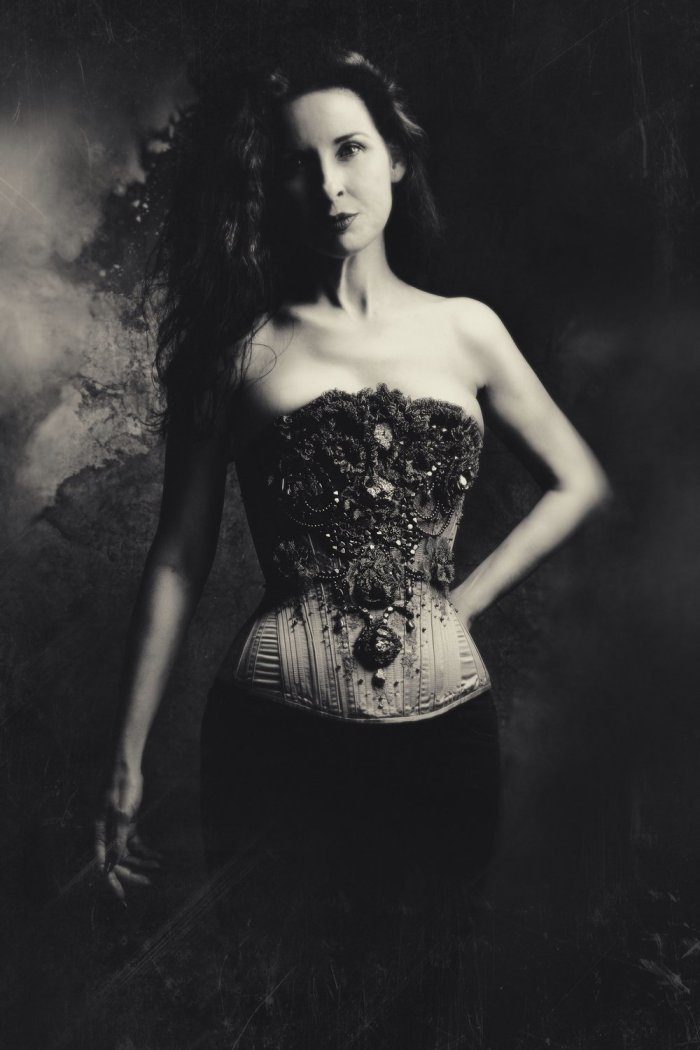 The Pyrite corset (modelled by its owner Glo) is an example of our current approach to duchess fully-boned corsetmaking.
